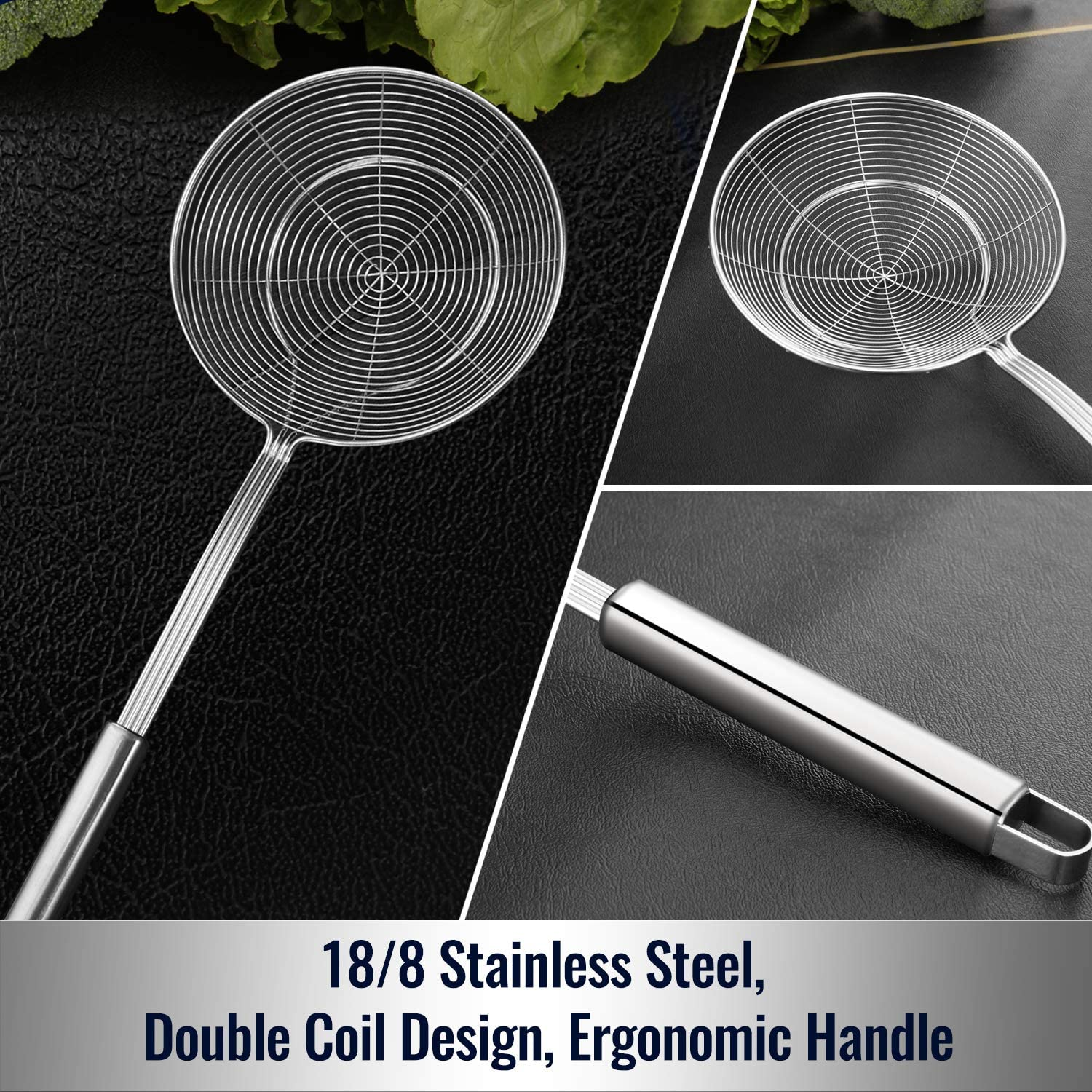 Solid Stainless Steel Spider Strainer Slotted Spoon - my #1 choice for bone broth!