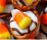 Candy Corn Pretzel Hugs