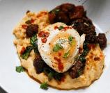 Creamy Polenta with Eggs, Chorizo, and Cilantro