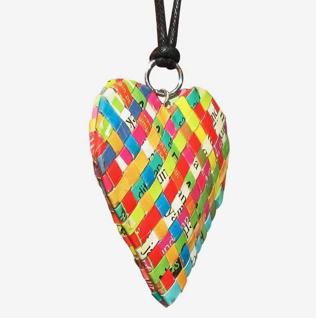 recycled magazine heart neckalce